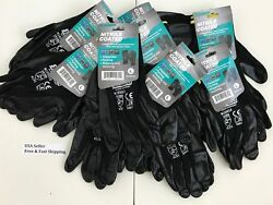 3 6 12 pairs Nitrile Coated Gloves For Construction Grip Work Garden. Large $23.74