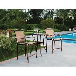 3 Piece High Bar Table Chair Set Outdoor Patio Garden Square Tabletop Dining NEW
