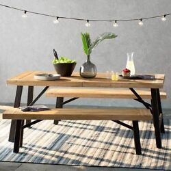 Patio Dining Set Outdoor Garden Picnic Table Deck Bench Wood Lawn Yard Furniture