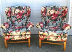 Pair Lee Industries Floral Cottage Roses Chic Shabby Chippendale Wing Chairs