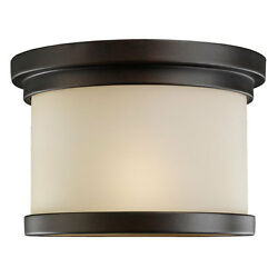Winnetka One-Light Misted Bronze Outdoor Flush Mount with Cafe Tint�Glass