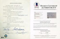 Boston Red Sox Ted Williams Signed Appearence Contract BAS A80645  $371.96