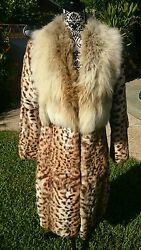 Full length plush Leopard Fur Coat real shadow fox collar spotted print Vintage
