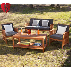 Deep Seating Outdoor Furniture Sofa Set Cushioned Patio Garden Chair Table 4 pcs
