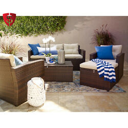 Wicker Patio Furniture Set Outdoor Storage Seat Chair Table Conversation 4 pcs