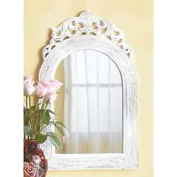 white baroque Distressed shabby vintage style wood bathroom entry Wall Mirror $37.00