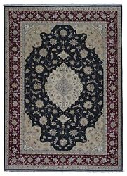 10'x14' Black Red and Beige Large Wool Tabriz Hand Knotted Oriental Area Rug