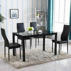5 Piece Dining Table Set 4 Chair Glass Metal Kitchen Room Breakfast NEW $195.99