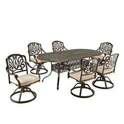 Floral Blossom Taupe Outdoor 42-Inch Oval Table and Six Swivel Chairs Dining Set