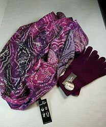 LORD AND TAYLOR  CASHMERE infinite  SCARF W MATCHING tech touch gloves