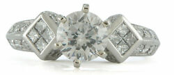 Round Semi-Mount Engagement Ring Princess Cluster Platinum 1.02ct TW Size 7