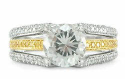 Round Semi-Mount Engagement Ring Yellow Diamonds 18k White Gold Bead Set SZ 6.25