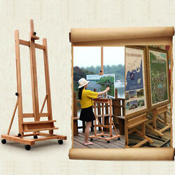 Portable Artist Durable Wooden Easel 360 H-Frame WCaster Painters Drawing Board