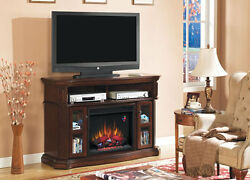 Media Electric Fireplace Classic Flame Aberdeen Wall TV Stand Cocoa