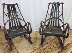 American Rustic Vintage Adirondack Barked Design Pair of Twig Rocking Chairs