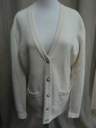 CHANEL Creme Cashmere Cardigan Sweater size 42