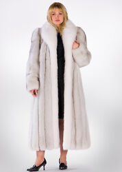 Real Blue Fox Fur Coat for Women Plus Size - Natural White & Blue Fox