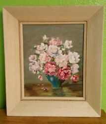 Vtg Flowers and Vase Still Life Painting (Floral Decor She Shed Shabby Chic)