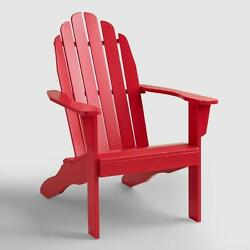 Folding Red Wood Adirondack Chair Outdoor Patio Garden Deck Vintage Set of 2