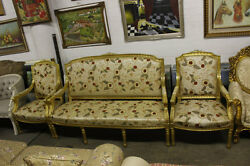 3Pieces French Living Room Set - Handcarved Solid Wood with Gold Leaf Finish