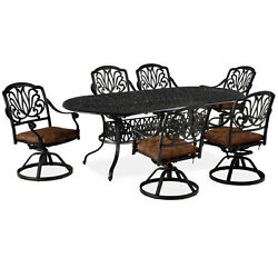 Floral Blossom Charcoal Outdoor Oval Table and Six Swivel Chairs Dining Set