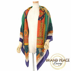 Hermes large size shawl gold thread weave purple  red  green cashmere 65%