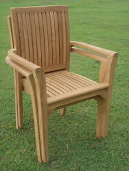 Qty 2 - Lua Grade-A Teak Wood Dining Stacking Arm Chair Pair Outdoor Furniture