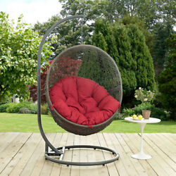 Modway Furniture Hide Outdoor Patio Swing Chair in Gray Red - EEI-2273-GRY-RED