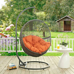 Modway Furniture Hide Outdoor Patio Swing Chair in Gray Orange
