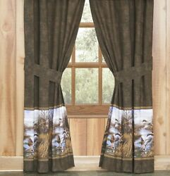 Pair of Mallard Duck Approach Curtains Lined Panel Drapes 84