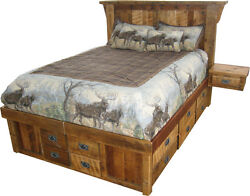 Rustic Barn Wood King or Queen Size Bed with 16 Drawers and 2 End Tables