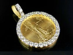 22K Yellow Gold Coin Lady Liberty One Ounce Real Diamond Pendant 7 34 Ct 2.2