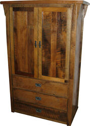 Rustic Barn Wood Clothing Armoire with Drawers - Amish Made in the USA