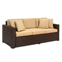 Outdoor Patio Wicker Sofa 3 Seater Luxury Comfort Couch Cushioned Brown