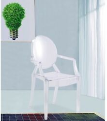 Clear Dining Arm Chair Plastic Frame Water Resistant Transparent Acrylics Modern
