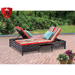 Double Chaise Lounge Outdoor Seat Chair Pillows Side Table Patio Garden Backyard