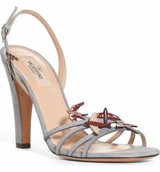 Valentino Garden of Delight Gray Suede Bird Sandals Pumps Sz. 37.57.5 $1045