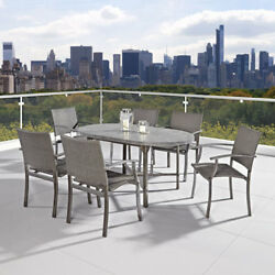 Home Styles Furniture Urban Outdoor Aged Metal 7 Piece Dining Set - 5670-338