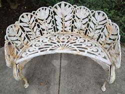 JB ANTIQUE 19th Century Cast Iron Laurel Pattern Curved Garden Settee Bench