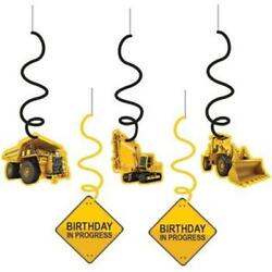 Construction Zone Hanging Danglers 5 Pack Boy Party Decoration $3.59