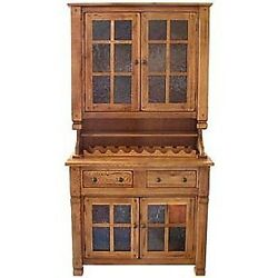 Rustic Oak Wood Antique Cabinet Tall Hutch Buffet Storage Vintage Classic Style