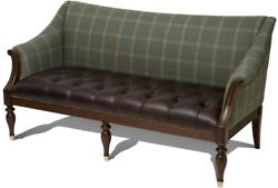 SOFA SCARBOROUGH HOUSE 2SEATER MAHOGANY TUFTED LEATHER GREEN MERINO WOOL