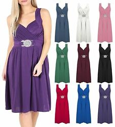 Womens Plus Size Buckle Dress Ladies Sleeveless Cross Wrap Over Evening Dress $18.45