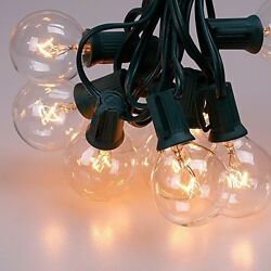 10x Outdoor Light String 100ft G50 Globe Patio String Lights - 125 Clear Bulb