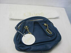 Chloé Women's Paraty Small Double Carry Bag Factory Blue Calf Skin Leather