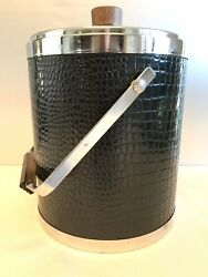 Vintage MCM Black and Chrome Faux Alligator Skin Wrap Kromex Ice Bucket