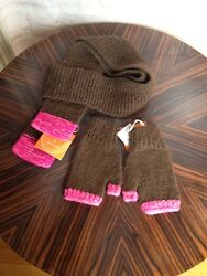 Kate Spade Cashmere Brown Pink Shawl w Fingerless Glove Set NWT! LOT Size OS