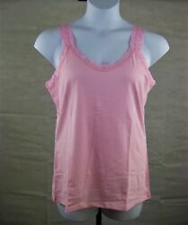 Plus Size Lace Tank Top Cami 1X 5X JMS JUST MY SIZE OJ314 Stretch Cotton Blend $12.99