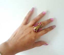 Gorgeous large gold tone & pink diamante elephant fashion dress - cocktail ring