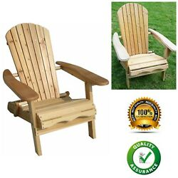 Outdoor Relax Foldable Fir Wood Adirondack Chair Deluxe Patio Rest Garden Chair